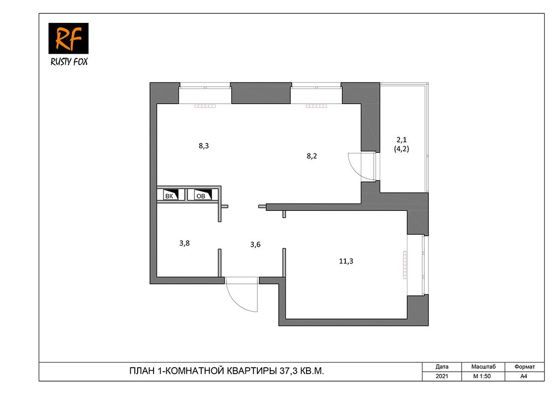 """ЖК Люберцы корпус 52, секция 1, 1-комнатная квартира <font color=""""#ef7f1a""""><b>37,3</b></font> кв.м."""