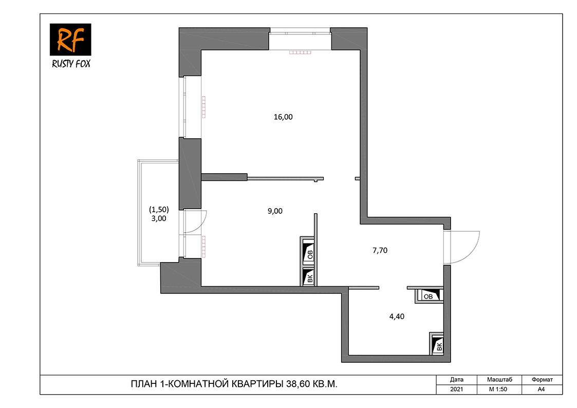 """ЖК Люберцы корпус 54, 1-комнатная квартира <font color=""""#ef7f1a""""><b>38,60</b></font> кв.м."""