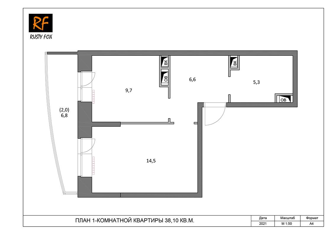 """ЖК Люберцы корпус 54, 1-комнатная квартира левая <font color=""""#ef7f1a""""><b>38,10</b></font> кв.м."""
