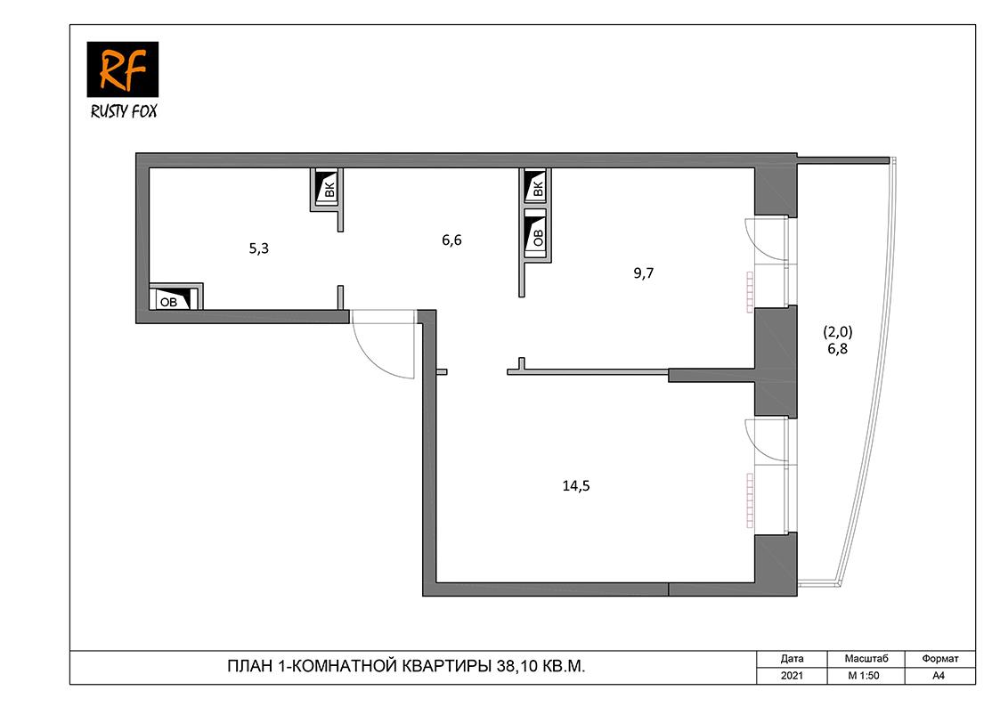 """ЖК Люберцы корпус 54, 1-комнатная квартира правая <font color=""""#ef7f1a""""><b>38,10</b></font> кв.м."""